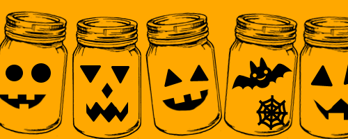Jars with Jack-o-lantern faces