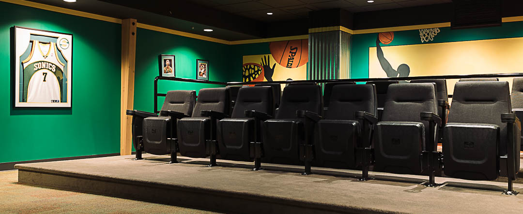 The movie theater at the Ronald McDonald House in Seattle.