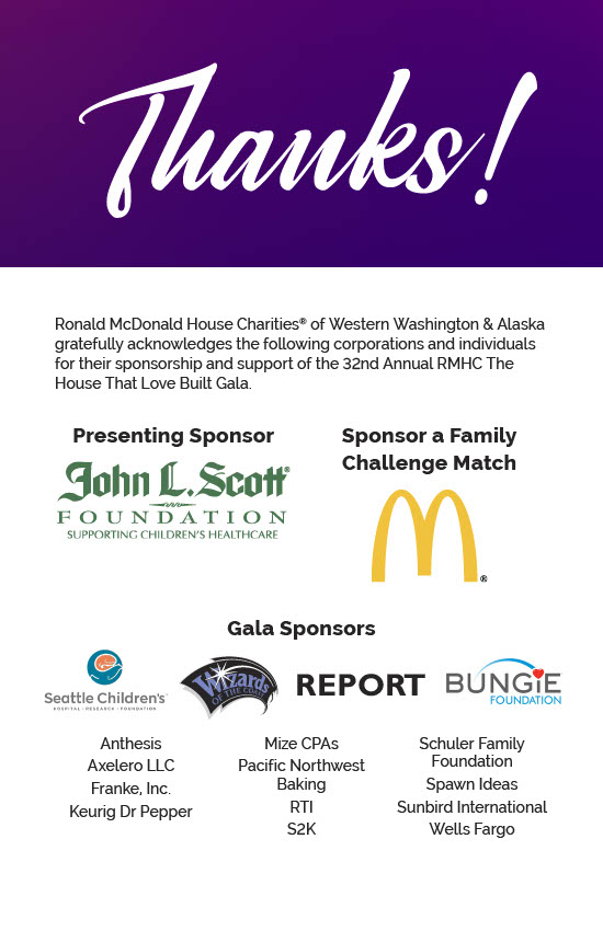 Graphic thanking all the sponsors of this year's gala